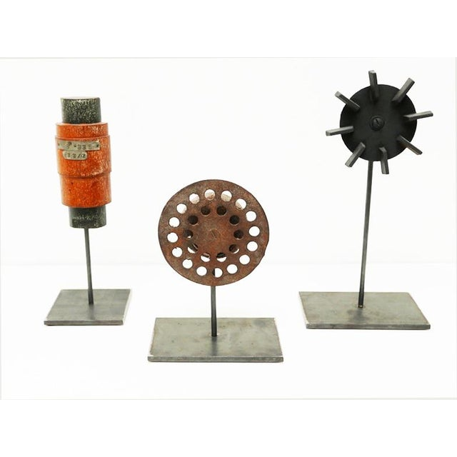 """Three objects on custom metal bases: Industrial Wood Mold 4"""" x 4"""" x 11"""" Iron Perforated Sculpture 6"""" x 4"""" x 8 1/2"""" Found..."""