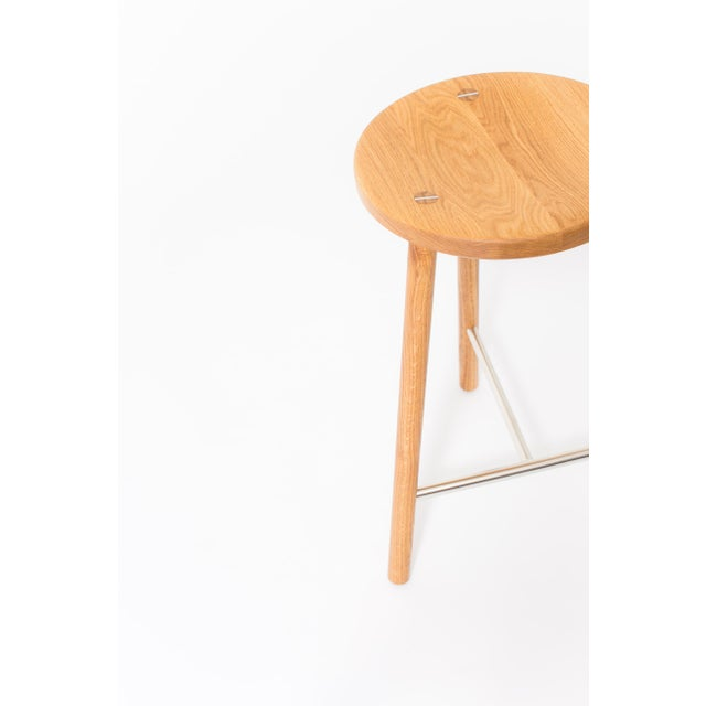 Contemporary Steven Bukowski Contemporary Scout Stool in White Oak and Nickel For Sale - Image 3 of 5