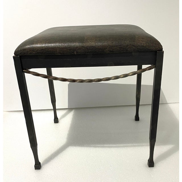 Modern Vintage Artisan Wrought Iron Stool With Faux Lizard Fabric For Sale - Image 3 of 12