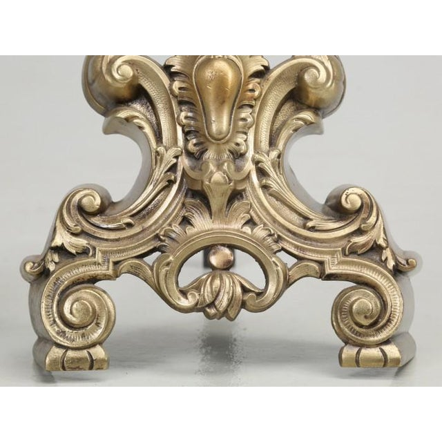 Antique French Rococo Solid Bronze Andirons - a Pair For Sale - Image 10 of 13