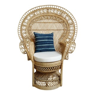 Grand Natural Wicker Peacock Chair For Sale