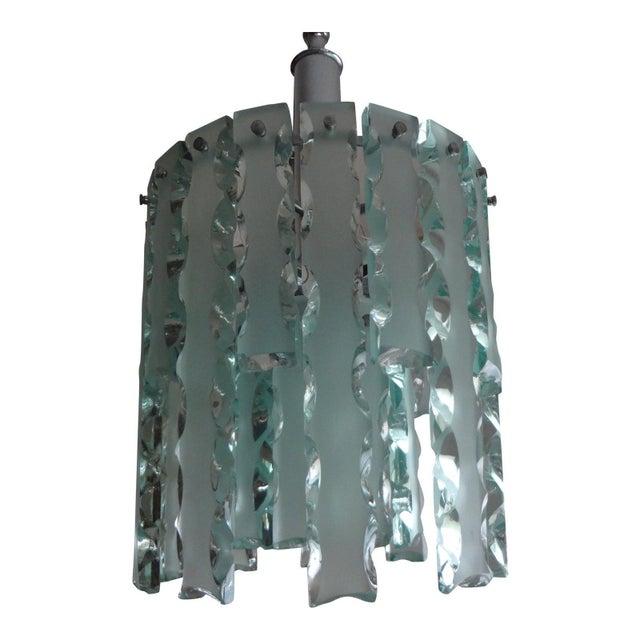 1960's Italian Zero Quattro -Fontana Arte Frosted Glass Lantern or Chandelier For Sale - Image 10 of 12