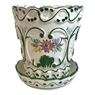 Vintage Mid Century Hand Painted Portuguese Ceramic Planter For Sale