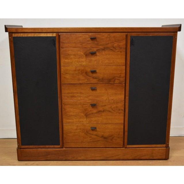 Walnut and Black Vinyl Armoire Dresser - Image 2 of 11