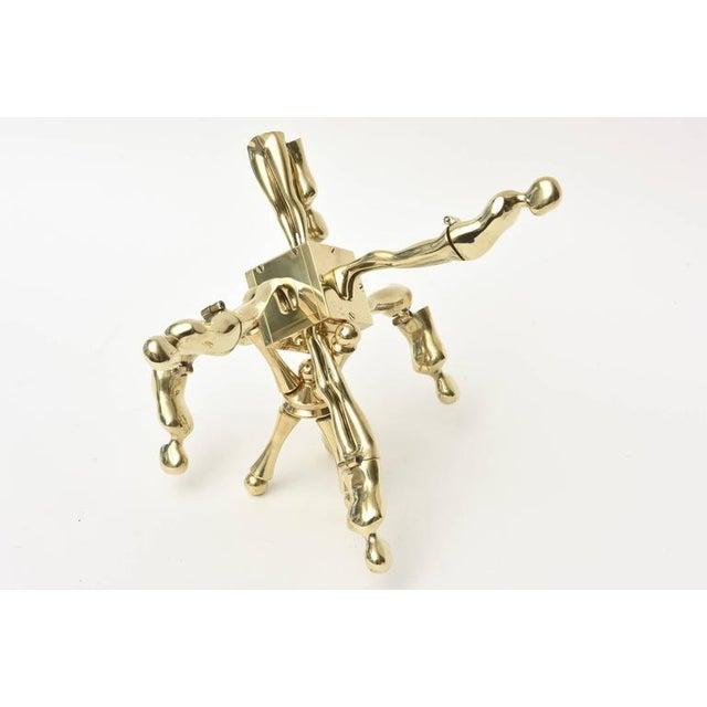Gold One of Kind Ernest Trova Polished Brass Falling Man Sculpture For Sale - Image 8 of 11