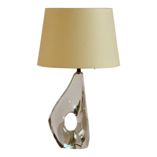 Small Freeform Crystal and Parchment Table Lamp by Daum For Sale