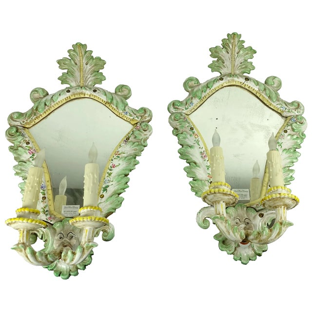 19th Century Italian Porcelain Sconces With Faces - a Pair For Sale - Image 10 of 10