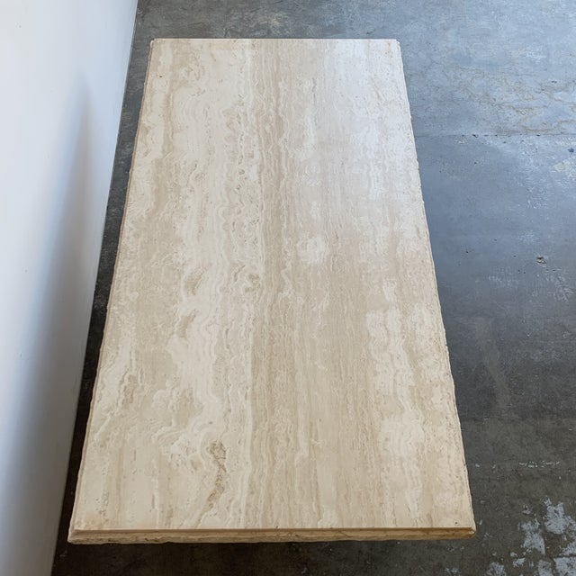 1970s Textured Edge Travertine Coffee Table For Sale - Image 5 of 13