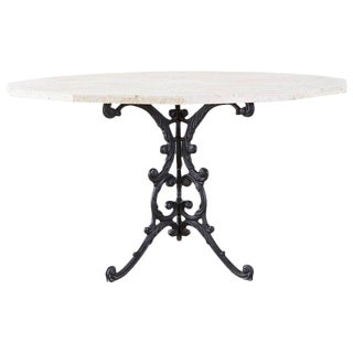 French Travertine Top Bistro Garden Dining Table For Sale