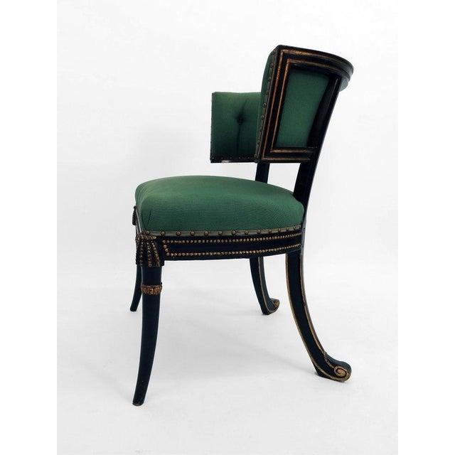 Hollywood Regency Windsor Model Regency Style Tufted Cove Back Chair For Sale - Image 3 of 6