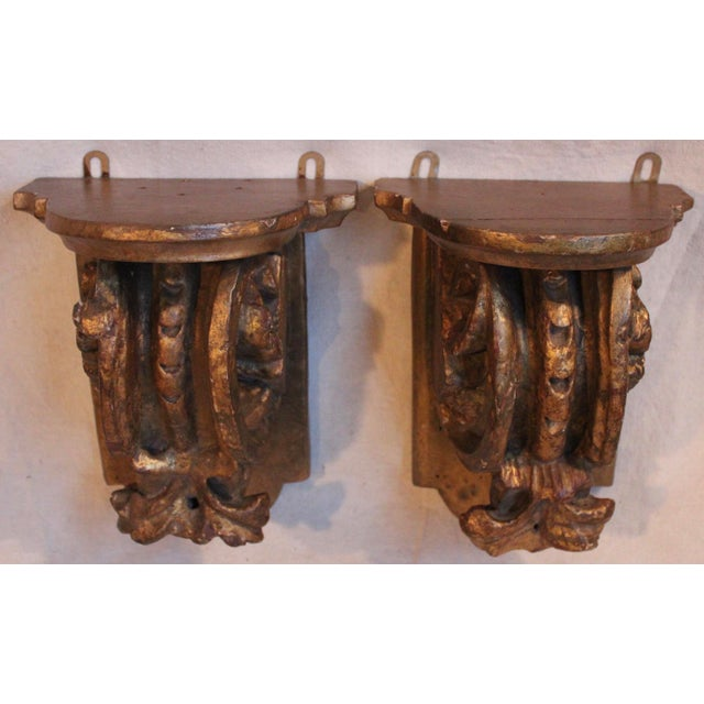 Traditional Antique Carved Wood Wall Brackets/Shelves - Pair For Sale - Image 3 of 5