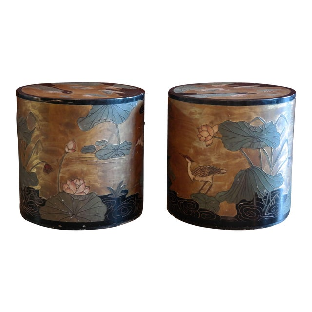 Asian Hand Painted Side Tables - A Pair - Image 1 of 6