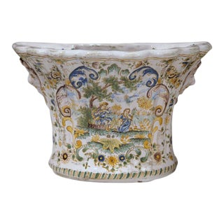 18th Century French Hand-Painted Faience Bouquetieres - a Pair For Sale