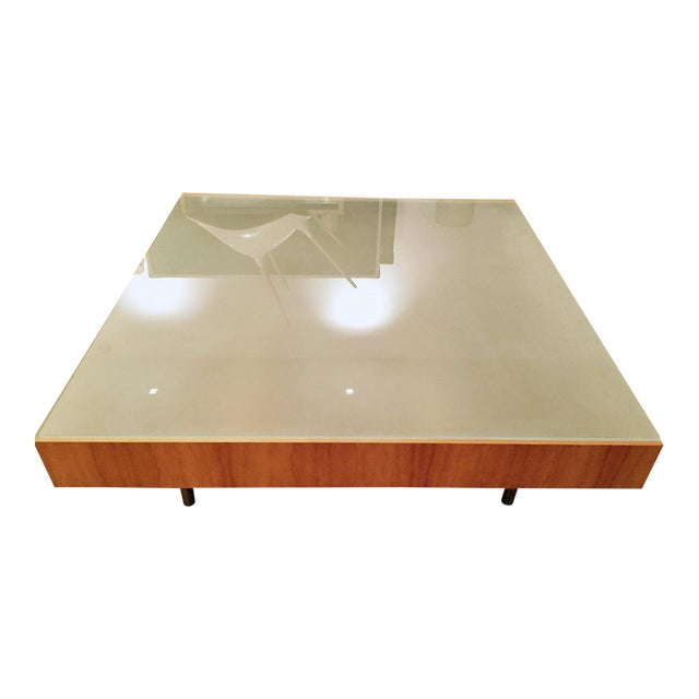 Modern Glass and Wood Coffee Table - Image 1 of 5