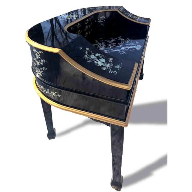 1990s Chinoiserie Carlton House Laquered Desk & Chair Set - 2 Pieces For Sale - Image 4 of 12
