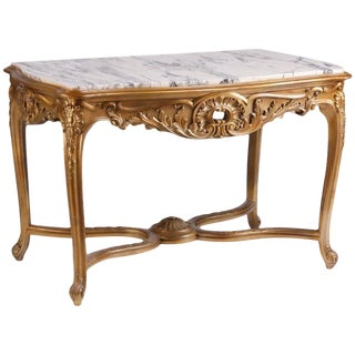 Antique Carved Giltwood Marble Top Table For Sale