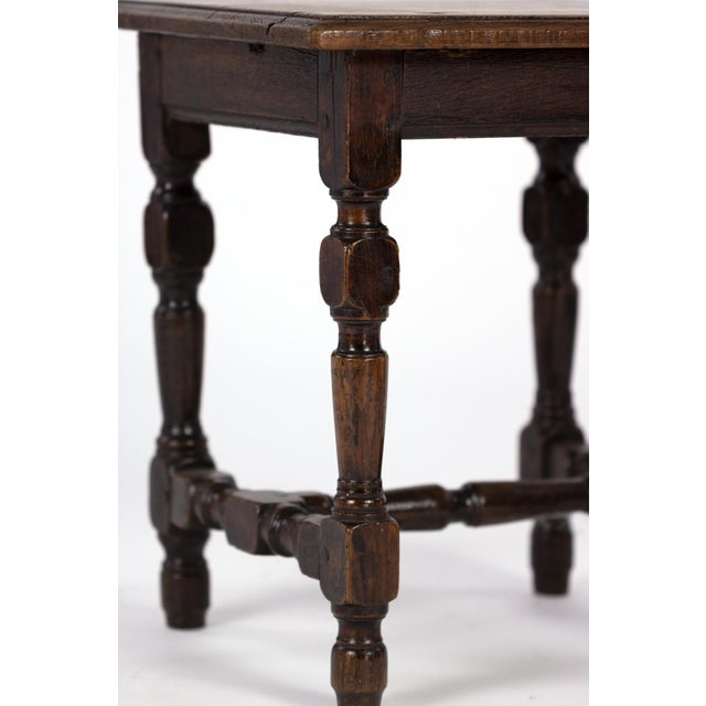 English Oak Square Stool With Turned Legs and H-Stretcher, Circa 1890 For Sale - Image 10 of 11