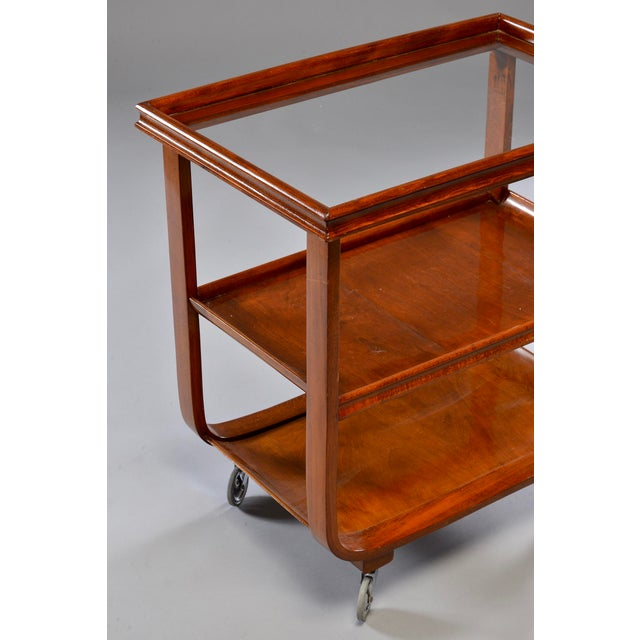 English Wooden Bar Cart or Tea Trolley With Removable Glass Tray For Sale In Detroit - Image 6 of 8
