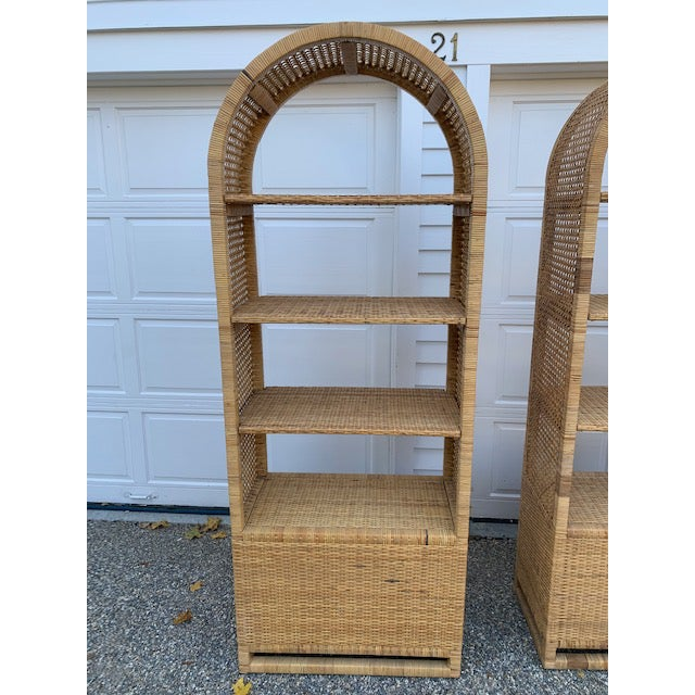 1970's Bielecky Style Rattan and Brass Bookshelves-Set of 3 For Sale - Image 12 of 13