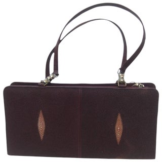 Exotic Genuine Stringray Burgundy Handbag For Sale
