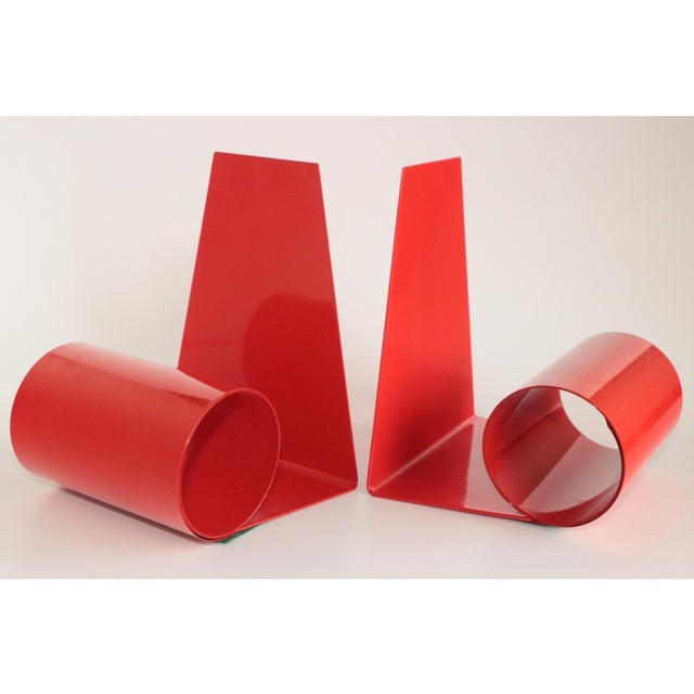 Metal Mid-Century Red Metal Coil Bookends - a Pair For Sale - Image 7 of 7