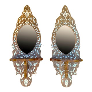Vintage Mother of Pearl Inlaid Mirrors With Brackets - a Pair For Sale