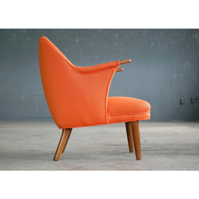 Orange 1950s Small Danish Mama Bear Style Lounge Chair in the Manner of Kurt Olsen For Sale - Image 8 of 10
