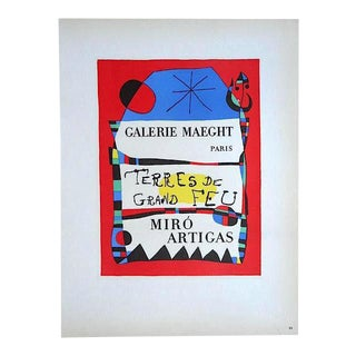 Vintage Mid Century Color Lithograph-Joan Miro-Printed By Mourlot For Sale