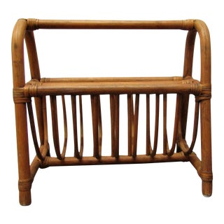 Vintage Bent Bamboo Handled Magazine Rack For Sale