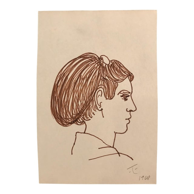 1968 Mid-Century Portrait of a Lady Drawing by James Bone For Sale