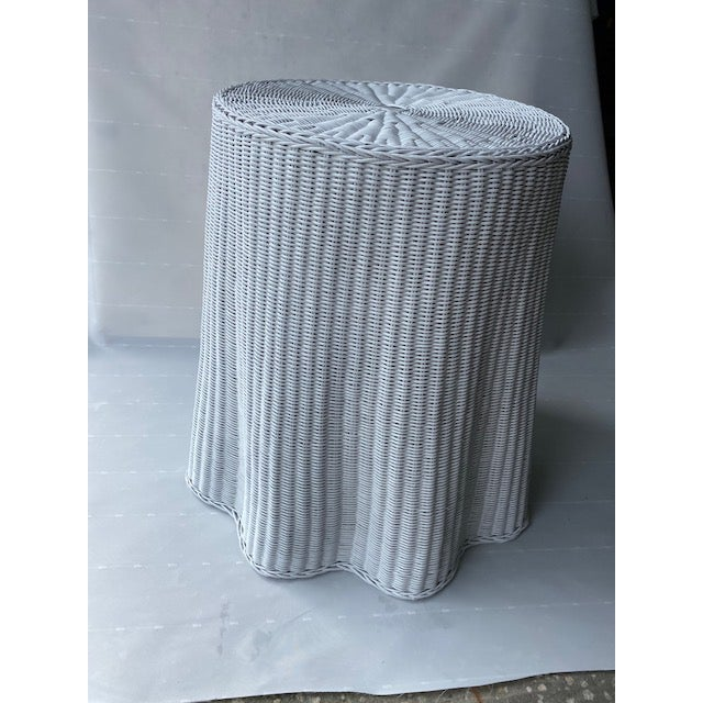 1960s Faux Drape Wicker Table For Sale - Image 6 of 6