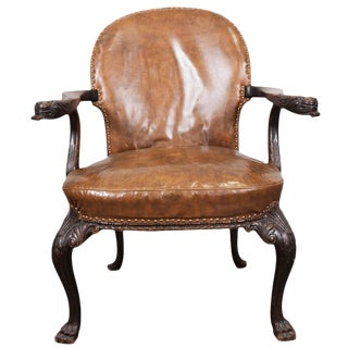 English Oak and Leather Arm Chair For Sale