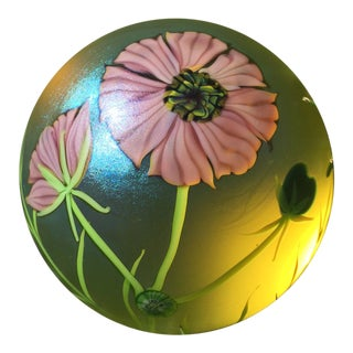 1983 Orient & Flume Mauve Poppy in Full Bloom Paperweight For Sale