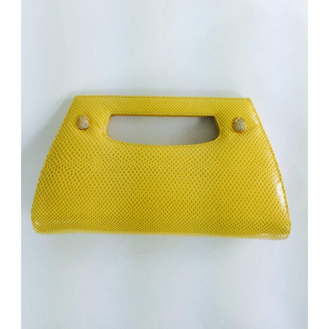 Judith Leiber Judith Leiber Yellow Karung Structured Handle Clutch Handbag For Sale - Image 4 of 10