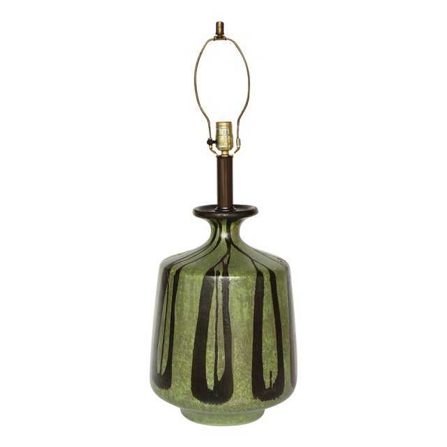 Danish Modern Table Lamp with Moss Green Glaze - Image 1 of 5
