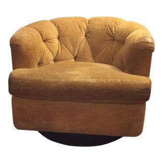 Mid-Century Baughman Style Plinth Base Swivel Chair