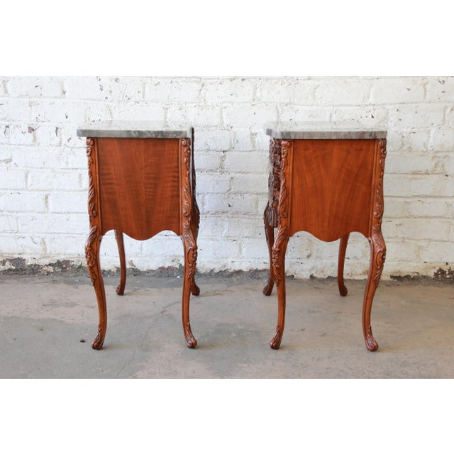Carved Louis XV Style Marble Top Nightstands - A Pair For Sale - Image 9 of 10