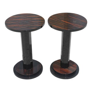 Pair of French Art Deco Exotic Macassar Ebony End Tables, circa 1940s.