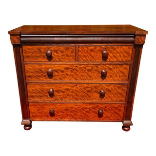 19th Century Antique Empire Mahogany Chest of Drawers For Sale