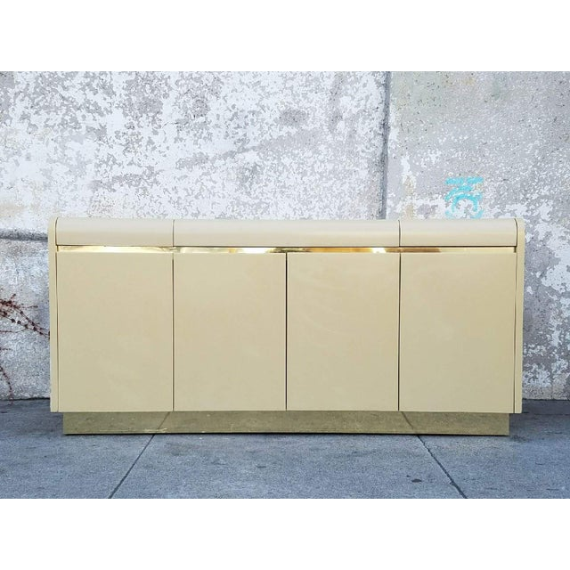 Vintage brass and ivory credenza by Lane. Great for any space!