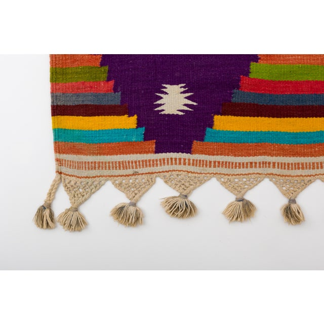 Multi-Color Striped Cotton Indian Dhurrie Rug For Sale In New York - Image 6 of 8