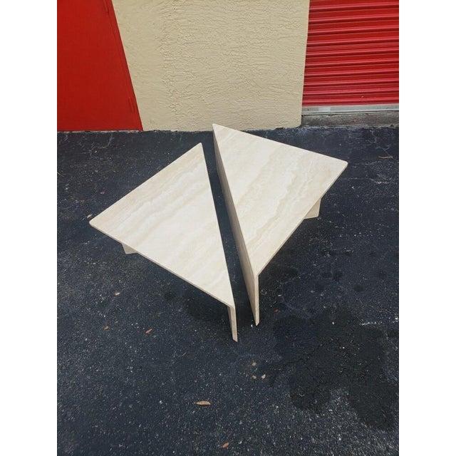 Angelo Mangiarotti Post-Modern Italian Travertine Coffee Table - 2 Pieces For Sale - Image 4 of 9