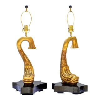 Gilt Wood Neoclassical Dolphin Table Lamps - a Pair For Sale