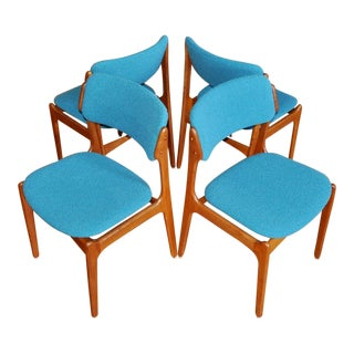 1960s Mid Century Modern Erik Buck Solid Teak & Turquoise Wool Boucle Danish Chairs For Sale