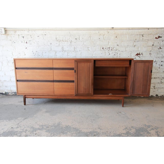 Kipp Stewart for Calvin Mid-Century Modern Walnut and Cane Dresser or Credenza For Sale In South Bend - Image 6 of 13