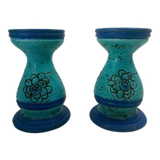 Mid-Century Rosenthal-Netter Italy Pottery Rimini Blue Candle Holders