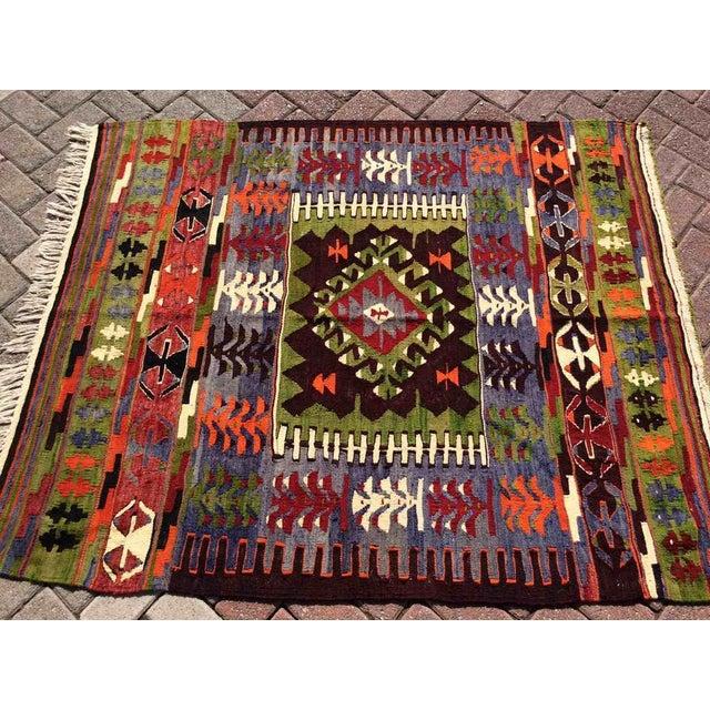 Mid-Century Modern Vintage Turkish Kilim Rug For Sale - Image 3 of 8