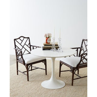 Chinese Chippendale Chocolate Lacquered Faux Bamboo Dining Chairs Preview