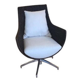 Modern Palecek's Metro Wicker Swivel Chair Showroom Sample For Sale