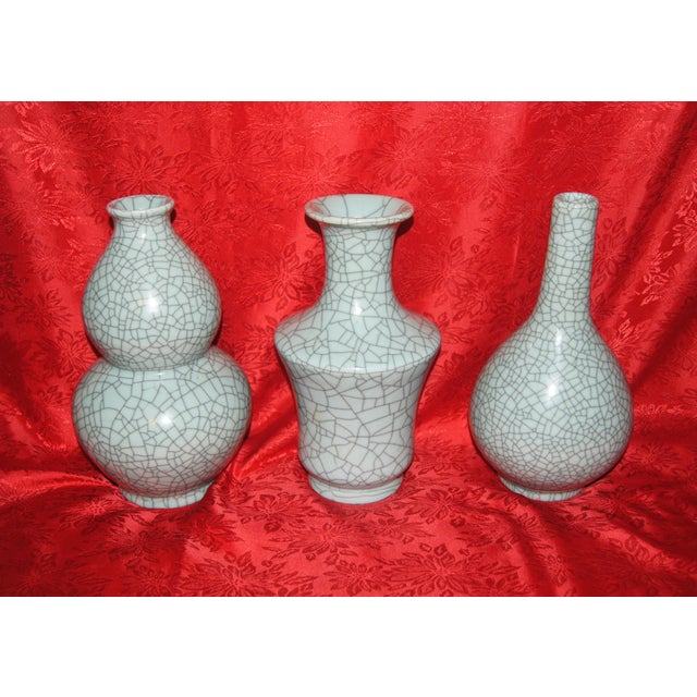 Gourd Chinese Crackle Celadon Vases - Set of 3 For Sale - Image 7 of 7